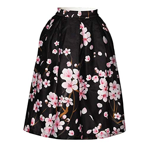 Women's/Big Girls' Flared Pleated Skater Midi Skirt Peach Blossom Knee Length Black Fit For Over 14 Years Old by ABCHIC