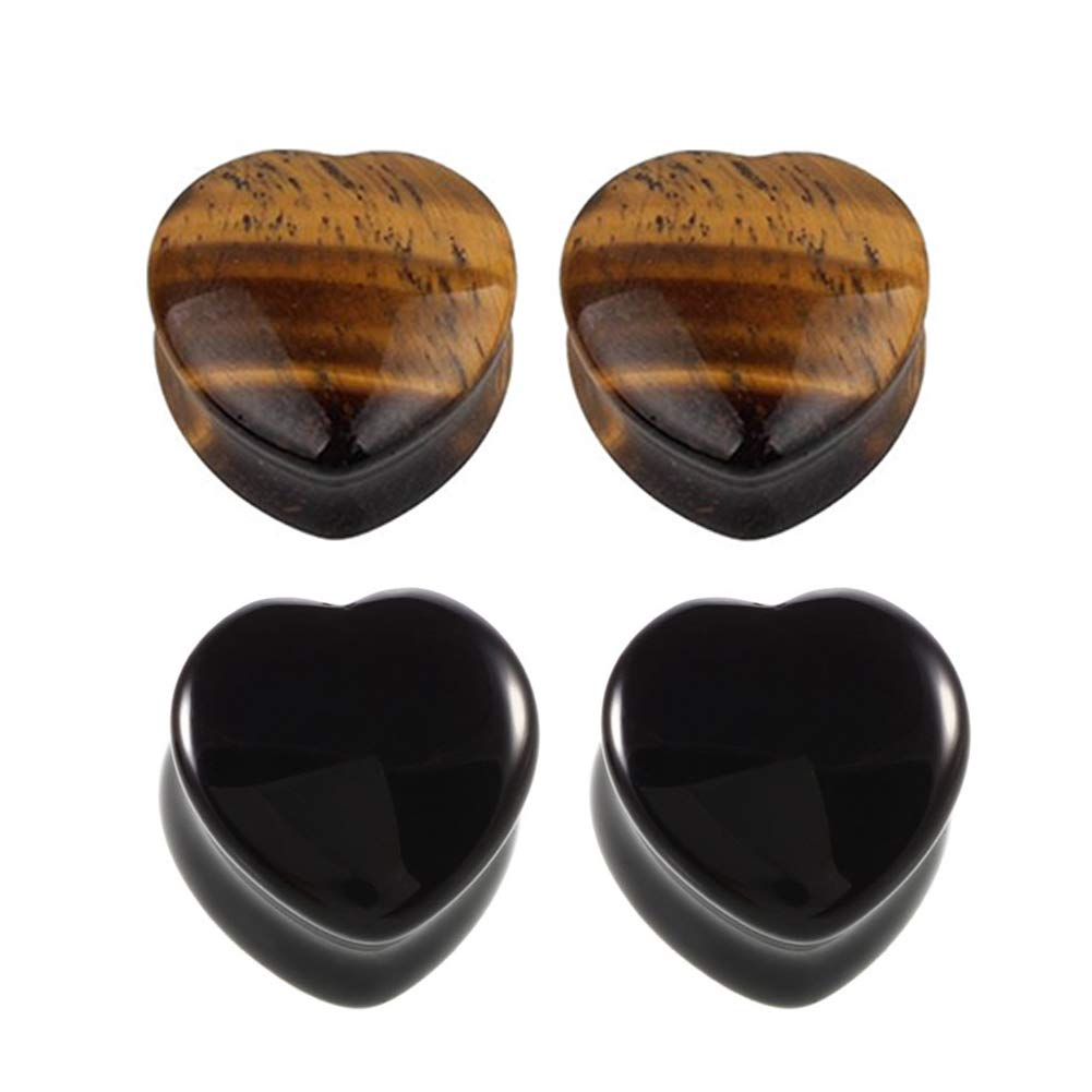 2 Pairs Love Heart Shaped Tiger Eye Brown & Black Obsidian Natural Stone Double Flared Ear Tunnels Plugs Stretcher Expander Kit Gauge HQLA