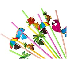 100-Piece Disposable Drinking Straws - Hawaiian Luau Party Cocktail Plastic Straws for Tropical Beach, Bridal Parties Supplies with Flamingo, Palm Tree, Lei, Pineapple Designs, Designs May Vary