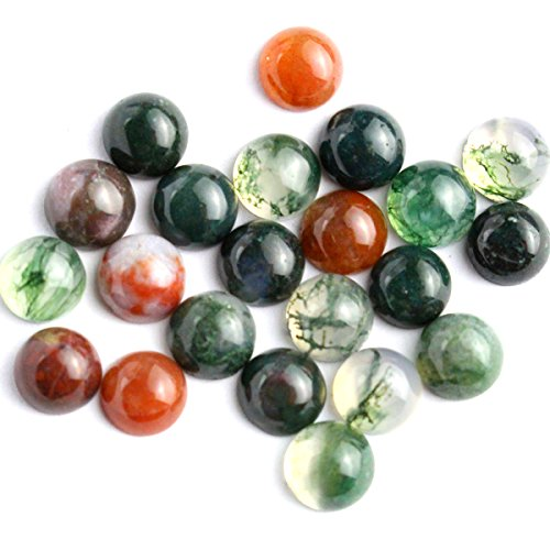 20pcs Coin 6mm Natural Indian Agate Gemstone Cabochons for Jewelry Making Beads (Cabochon Gem)