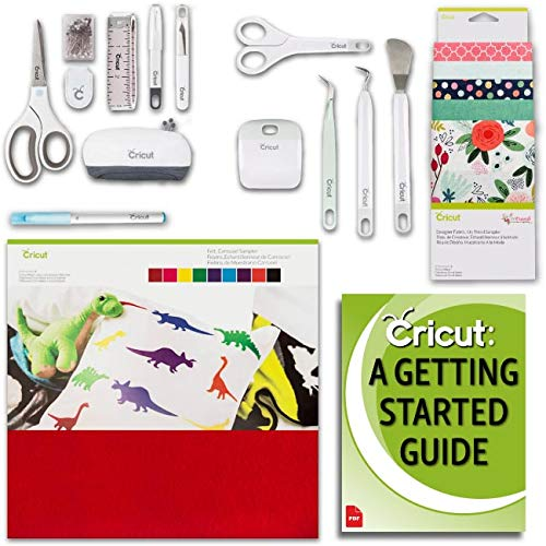 (Cricut Maker Machine Fabric and Felt Samplers, Beginner Sewing Kit and Essentials Tools Bundle)