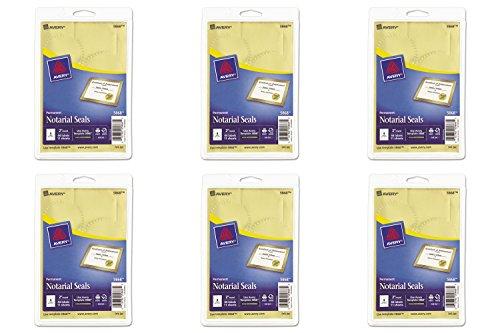 (Avery Inkjet Print or Write Notarial Seals, 2 in Diameter, Gold, 44/Pack, PK - AVE05868, 6 Packs)