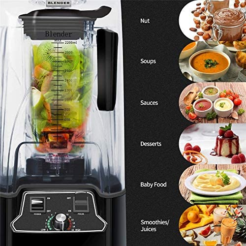 Smoothie Blender SoundProof Blender Juicer Mixeur Avec son couvercle Smoothie Bar Fruit Blender for Milkshake, fruits légumes boissons, glaces, des aliments for bébés