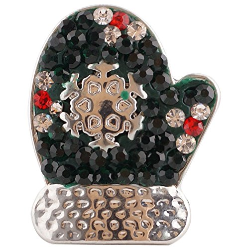 Lovmoment 20mm Christmas Gloves Snaps Buttons With Rhinestones Interchangeable Charms Jewelry