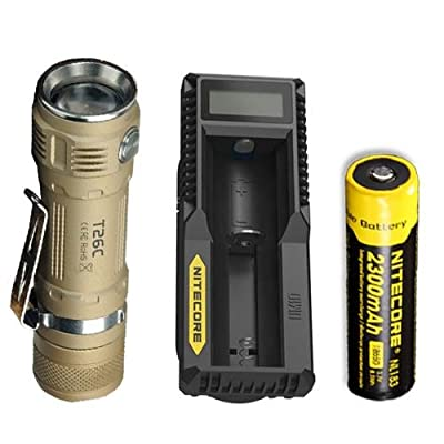 Bundle: Sunwayman T26C Flashlight w/NL183 Battery & UM10 Charger -Available in Black, Tan, & Grey