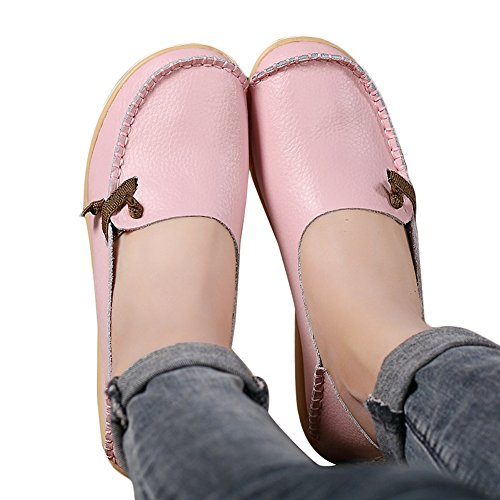 Lucksender Womens Soft Leather Comfort Driving Loafers Shoes 8B(M) US Pink