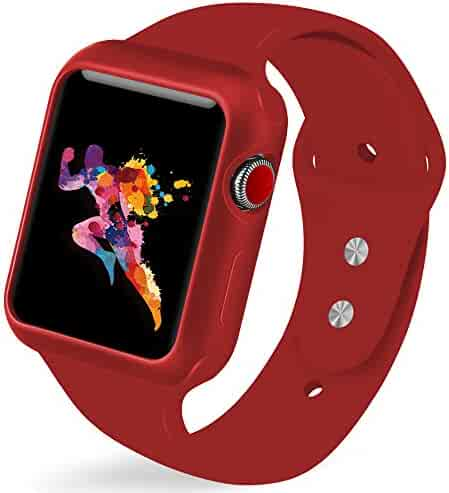 KEASDN Compatible Apple Watch Band with Case 38mm 42mm, Silicone Sport iWatch Strap Band with Shock-Proof Case Compatible with Apple Watch Series 3/2/1 Sport and Edition…