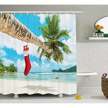 Christmas Shower Curtain Beach Nautical Christmas Decorations By Ambesonne,  Tropical Christmas Bathroom Beach Stockings On