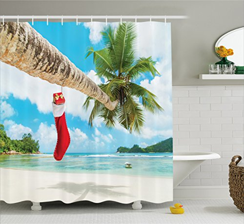 Ambesonne Christmas Shower Curtain, Sock on the Palm Tree on Tropical Sandy Beach Island Maldives Festive Design, Fabric Bathroom Decor Set with Hooks, 75 Inches Long, Multicolor Christmas Tree Design Ideas