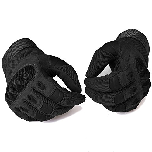 Military Hard Knuckle Tactical Gloves Motorcycle Riding Gloves Army Full Finger Gloves for Airsoft Black Large