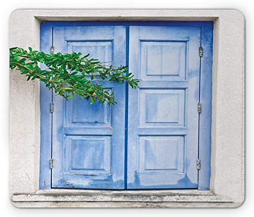 Country Mouse Pad, Mediterranean Window Shutters with Tree Print Heritage Greek Island Image, Standard Size Rectangle Non-Slip Rubber Mousepad, Turquoise White,8.66 x 7.08 x 0.118 Inches Country Heritage Yellow Rug