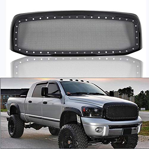 - Rivet Black Stainless Steel Wire Grille Grill Mesh Shell Fits 2006-2008 Dodge Ram