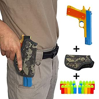 Yuanzu Toy Gun, Colt 1911 Toy Pistol with 20 Pcs Colorful Soft Bullets, Ejecting Magazine and Camouflage Holster - Random Color