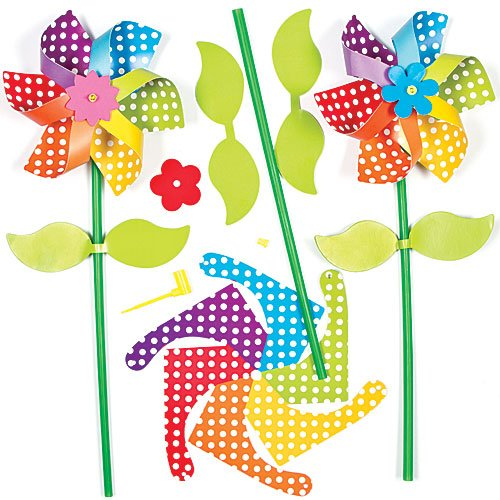 Baker Ross Rainbow Flower Windmill Kits for Children to Assemble and Play with (Pack of 6) ()