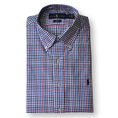 Polo Ralph Lauren Men Slim Fit Poplin Plaid Shirt, Blue, - Ralph Lauren Plaid Polo