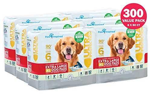 Paw Inspired Ultra Protection XL Extra Large Puppy Training Pads (with Adhesive Strips, 300 CT) by Paw Inspired
