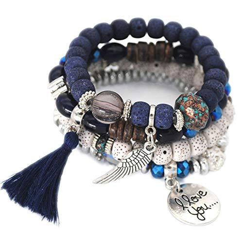 Multilayer Beads Charm Bracelets for Women Vintage Resin Stone Bracelets & Bangles Ethnic Jewelry Tassel,Dark -