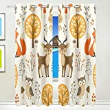Vantaso Window Curtains 84 Inch Long Cute Animals Owls Fox Deer for Kids Girls Boys Bedroom Living Room Polyester 2 Pannels