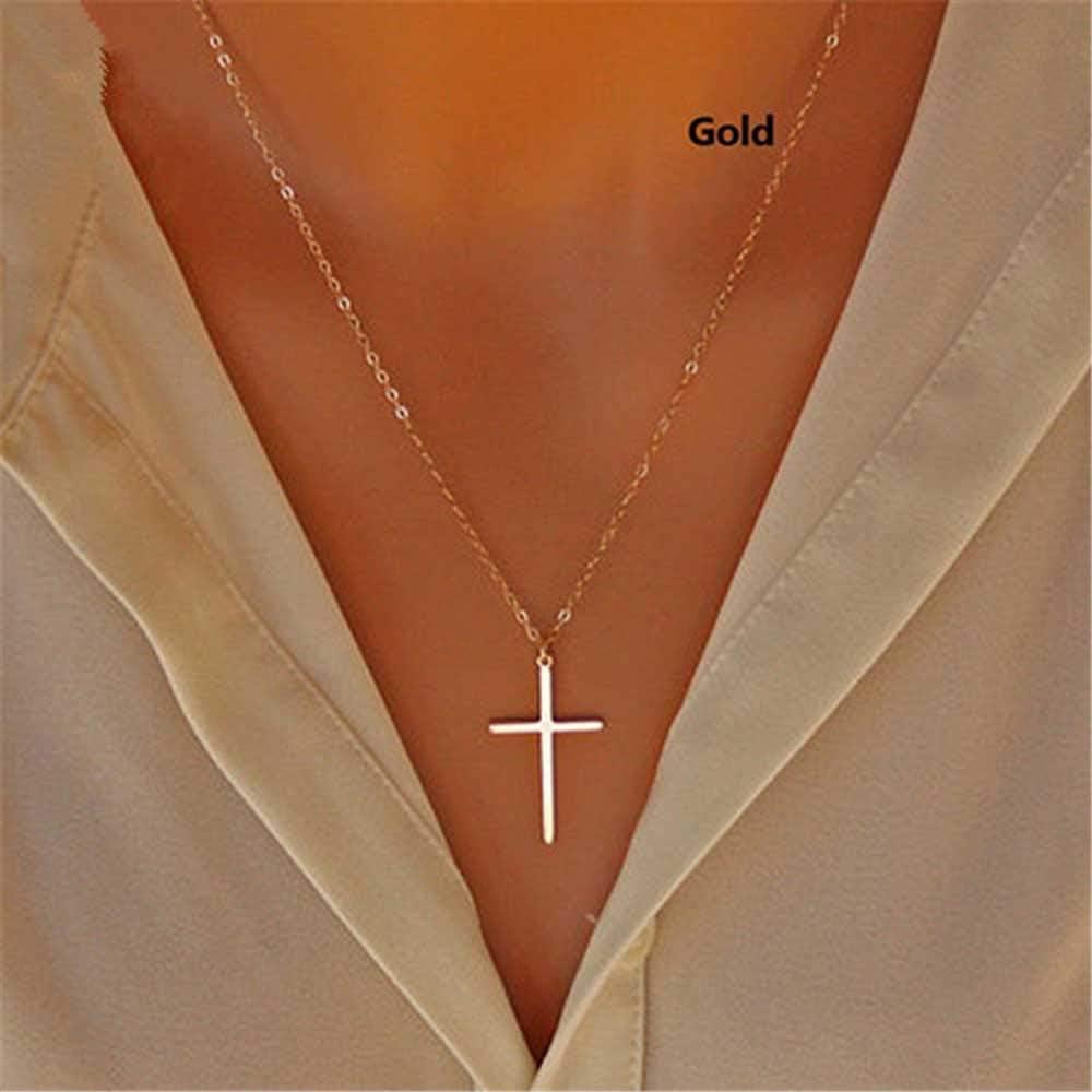 Jovono Collar Bohemio con Cruz Colgante para Cumpleaños Amistad Joyería Día de la Madre Regalo (oro)
