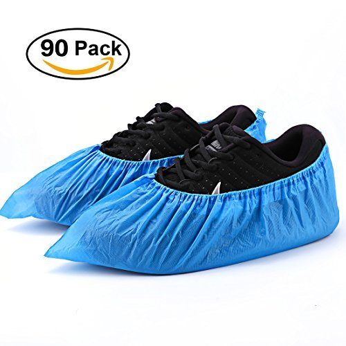 Shoe Covers Disposable - 90 Pack Disposable Shoe & Boot Covers Waterproof Slip Resistant Shoe Booties (Large Size - up to US Men's 11 & US Women's 12.5) by GORUNNY