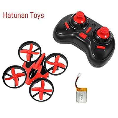 Hatunan NH-010 Mini Quadcopter Drone with Headless Mode RTF Helicopter UFO Drone with GYRO 2.4G 4CH 6 Axis AR Drone Flying RC Copter with LED Lights, Remote Control and Wind Propeller - Red by Hatunan