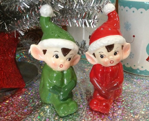 Purchase Vintage Style Retro Christmas Elves Salt & Pepper Shaker Set-Gift Boxed saleoff