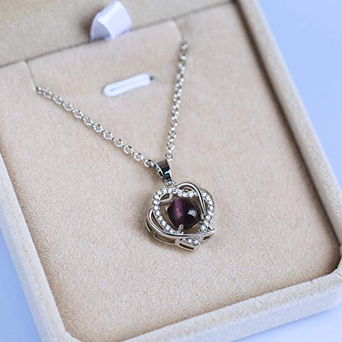 (WOkismx New Necklace Female Exquisite Heart-Printing Moonstone Zircon Pendant Gold-Plated Simple Temperament Clavicle Chain Fashion Wild Jewelry Gift,Purple)