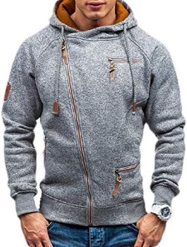 メンズロングスリーブ斜めジッパーパーカースウェットシャツ ソリッドコートアウトウェア