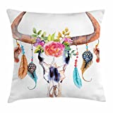 #10: Watercolor Throw Pillow Cushion Cover by Ambesonne, Bull Skull with Hanging Flower Feathers Ethnic Inspired Native American Design, Decorative Square Accent Pillow Case, 18 X 18 Inches, Multicolor