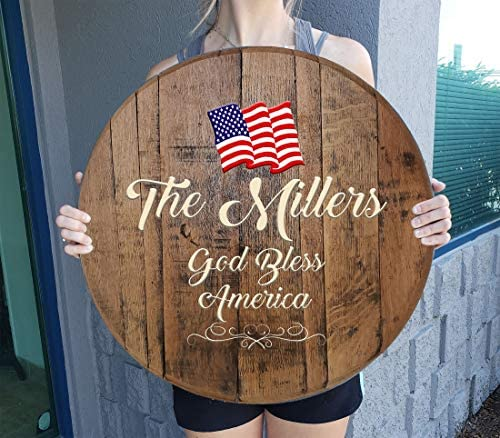 Rustic Wall Decor Personalized American Flag Personalized Bar Sign Patriotic Wall Decor Wall Art Gift Man Cave Wall Decor Natural Wood Brown 22 inch Wall Decor