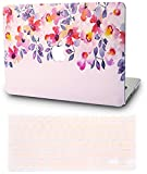 KEC MacBook Air 13 Inch Case with Keyboard Cover Plastic Hard Shell Rubberized A1369 / A1466 (Flower 2)