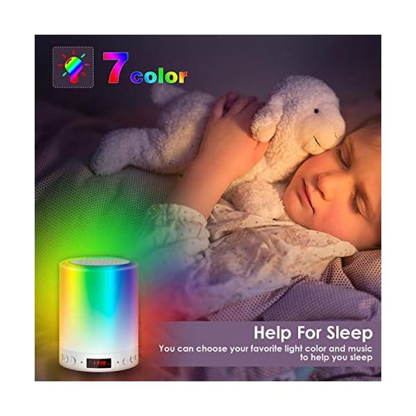 5 EN 1 Lampe de Chevet Tacile Rechargeable Portable,JOLVVN Lampe de Table Enceinte Bluetooth Musique USB FM Radio Réveil Numérique Lumière LED Multicolore Cadeau Hommes/Femmes/Enfants 4