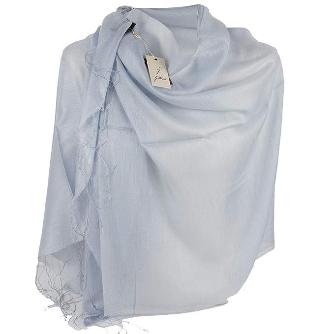 new style 6fdae 6855a Stola cerimonia celeste coprispalle elegante frange foulard ...