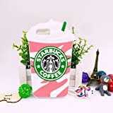 Jinxtech Starbucks Shaped Adorable 3D Cute Cartoon Character Soft Rubber Silicone Case with a Strap for iPhone 5/5C/5S/SE (4 Inch)(Starbucks Pink 01)