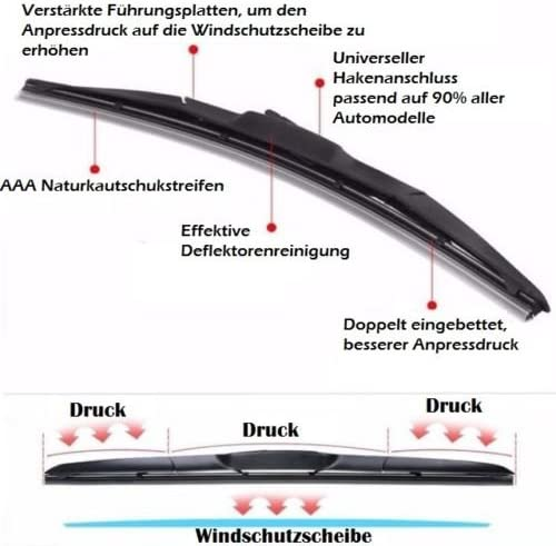 Hybrid 450 Mm 480 Mm 2x Front Windscreen Wiper Blades Set For Front Windscreen With Hook Attachment Japan Hybrid Flex Technology Hybrid 450 Mm 480 Mm Auto