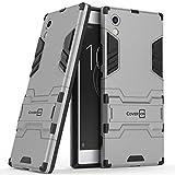 xperia sl case cover - Xperia XA1 Case, CoverON Shadow Armor Series Modern Style Slim Hard Hybrid Phone Cover with Kickstand Case for Sony Xperia XA1 - Silver
