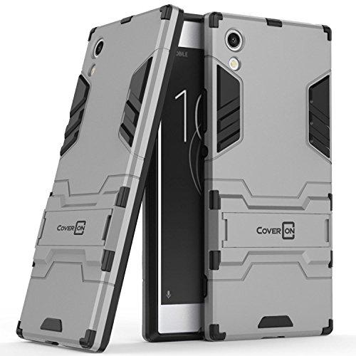 Sony Xperia XA1 Case, CoverON Shadow Armor Series Modern Style Slim Hard Hybrid Phone Cover with Kickstand Case for Sony Xperia XA1 - Silver