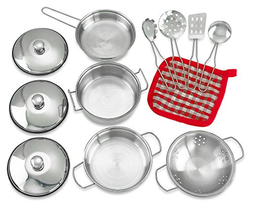 Creative Time Metal Pots and Pans Kitchen Cookware Playset for Kids with Cooking Utensils Set (Metal Pots And Pans Playset compare prices)
