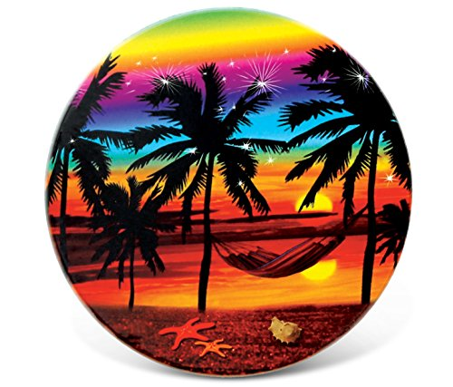 - CoTa Global Sunset Palm Trees Ceramic Drink Coaster, 3.75