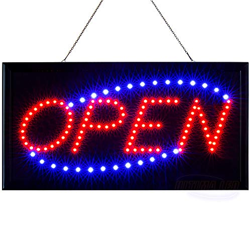 LED Neon Open Sign for Business: Electric Lighted Store Signs with Flashing Mode (19 x 10 inches, Model 2)