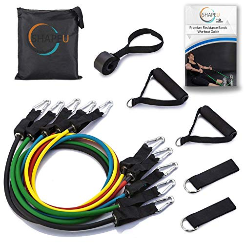 SHAPEU Resistance Band 11 Piece Set - Includes 5 Exercise Bands with Carrying Bag, Door Anchor, Ankle Straps, Exercise Guide with Bonus Digital Workouts and Workout EBook