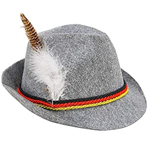 Skeleteen German Oktoberfest Alpine Fedora – Bavarian Swiss Traditional Trachten Felt Costume Hat with Feather for Kids and Adults