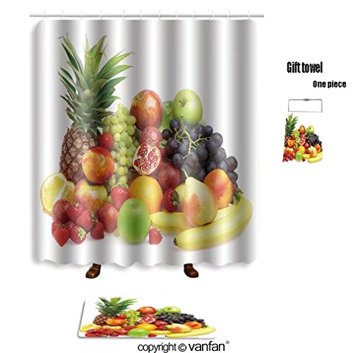 vanfan bath sets with Polyester rugs and shower curtain ripe fresh fruit wholesome food 4742638 shower curtains sets bathroom 72 x 92 inches&31.5 x 19.7 inches(Free 1 towel and 12 hooks)