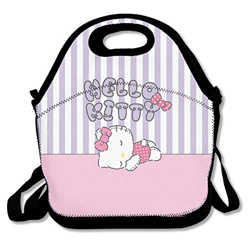 Meirdre Lunch Box Hello Kitty Sleeping Insulated Personalized Tote Lunch Food Bag]()