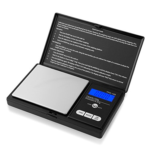 Weigh Gram Scale Digital Pocket Scale,100g by 0.01g,Digital Grams Scale, Food Scale, Jewelry Scale Black, Kitchen Scale (TOP-100) ()