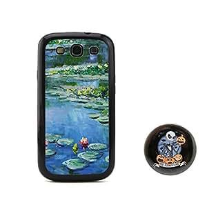 """BuddiCase Claude Monet Nenúfares, 1906 diseño en relieve de pintura al óleo estilo TPU + Plástico duro for Samsung Galaxy S3 SIII I9300 with pesadilla antes de Navidad estilo boton """"2,3 pulgadas insignia"""