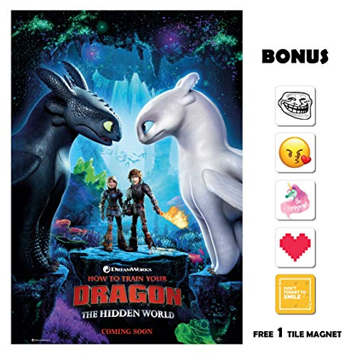 How to Train Your Dragon 3 Movie Poster 13 in x 19 in Poster Flyer Borderless + Bonus 1 Free Tile Magnet ()