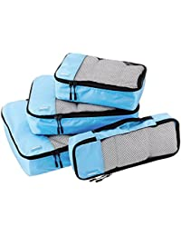 4-Piece Packing Cube Set - Small, Medium, Large, and Slim, Sky Blue
