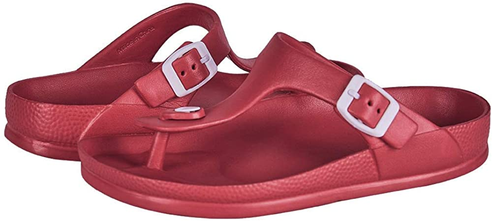 FUNKYMONKEY Womens Comfort Slides Double Buckle Adjustable EVA Flat Sandals