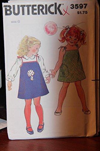 Vintage Butterick Pattern 3597 Size 6x - Children's Jumper Or Dress & Transfer (uncut pattern, missing instructions) (Dress Vintage Pattern Butterick Uncut)